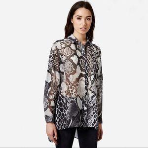 Topshop Oversize Snake Print Sheer Shirt